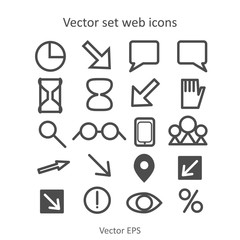 Vector set web icons grey