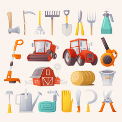 Items, tools and agricultural machines for farming. Flat view