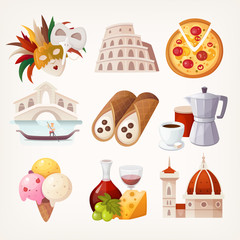 Stickers with sights and famous food of Italy.