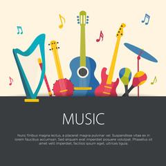 Flat design musical instruments. Vector illustration.
