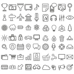 Set of vector linear media service icons