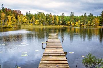 Autumn scenery on Swedish lake