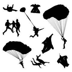 Parachute Parachutist Skydiving Jumper Silhouette Collection