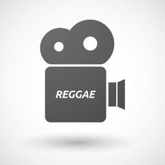 Isolated film camera icon with    the text REGGAE