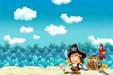 Cartoon scene of beach near the sea or ocean - illustration for children