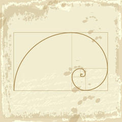 Golden ration presented on old background paper design. Golden p