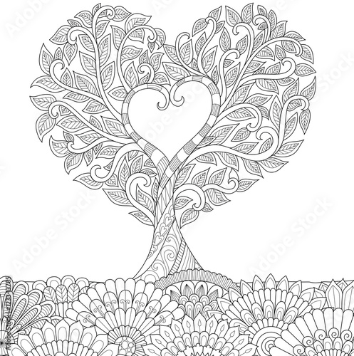 Flowers in heart shape on floral ground line art design for coloring ...