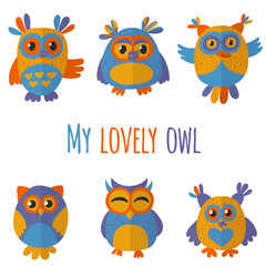 Vector set with cute owls Kids drawing style
