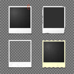 Vector instant photo frames isolated on transparent background