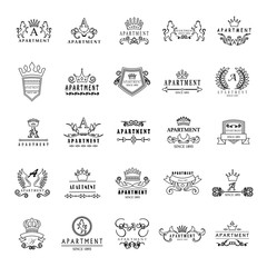 Apartment Logo Set - Isolated On A White Background - Vector Illustration, Graphic Design. For Web,Websites,Print,Presentation Templates,Mobile Applications And Promotional Materials