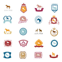 Horse Icons Set - Isolated On White Background - Vector Illustration, Graphic Design. For Web,Websites,App, Print,Presentation Templates,Mobile Applications And Promotional Materials