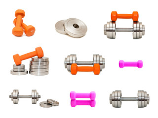 A set of different dumbbells on isolated background