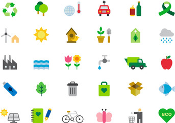 ENVIRONMENTALISM & GREEN ISSUES colored flat icons