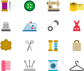 DRESSMAKING colored flat icons