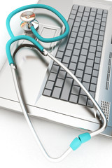 silver laptop diagnosis with stethoscope. 3D illustration