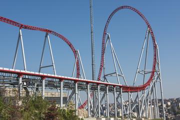 Roller coaster ride at a theme park