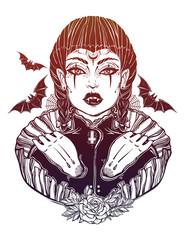 Sexy beautiful vampire girl.