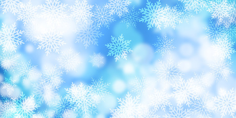 abstract light Bokeh background, Winter card with snowflakes, Christmas background