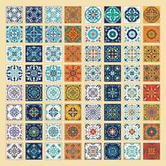 Vector set of Portuguese tiles. Beautiful colored patterns for design and fashion