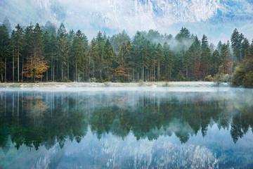 Treelined lake near Salzburg, Austria