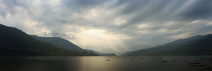 Landscape - Panorama - wonderful view on Phewa Lake - Pokhara, Nepal