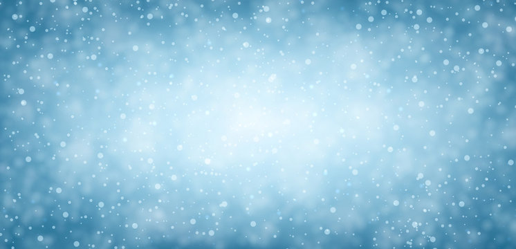 Blue winter banner with snow.
