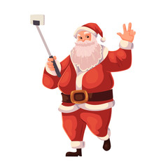 Papiers peints Chevaliers Santa Claus making selfie, cartoon style vector illustration isolated on white background. Full length portrait of Santa making selfie, Christmas decoration element