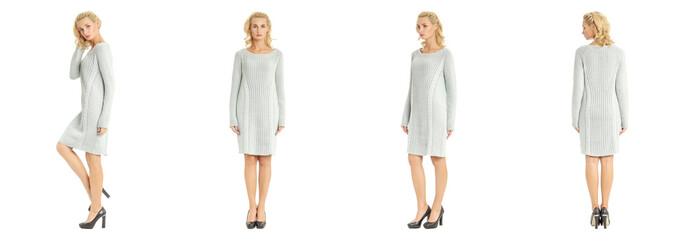 Beautiful blonde woman in sweater dress isolated on white