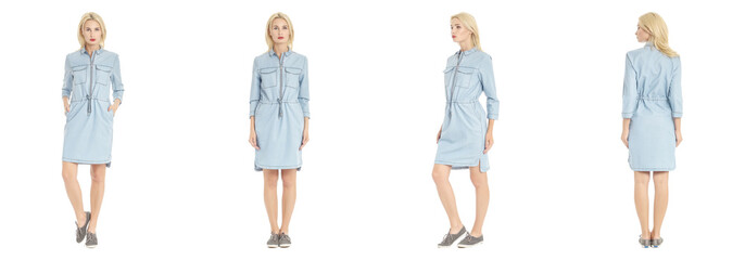 Beautiful blonde woman in shirt dress isolated on white