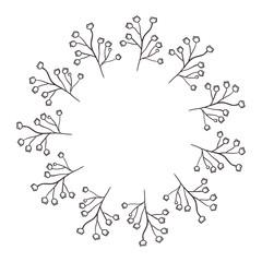 circular frame of irregular flowers vector illustration