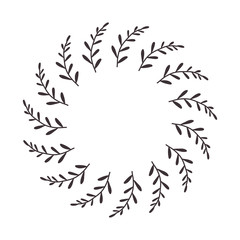 leaves and branches in circular form vector illustration