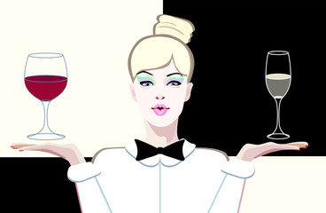 Abstract vector drawing of a girl with a glass of the sommelier white and red wine, color print design restaurant