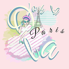 Abstract sketch girl in striped dress, hat, green sunglasses. Background colorful watercolor draw panorama Paris