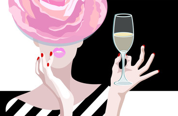Abstract vector drawing of  woman in  floral hat of roses, in hand glass of  wine