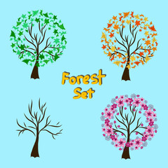 Four Seasons Trees Background Illustration. Seasons - forest set with hand drawing trees,  leaves and flowers. Winter, summer, spring, autumn.