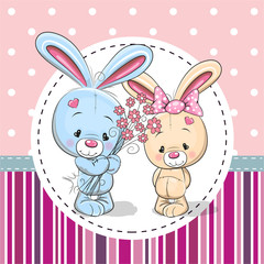 Greeting card with two Rabbits
