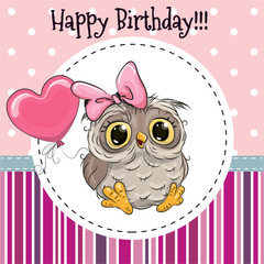 Cute Owl with Balloon