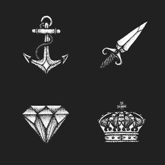vector vintage engraving illustrations set.