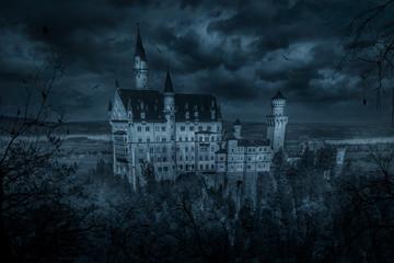 Fotorolgordijn Kasteel Mystic spooky castle in moonlight