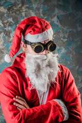 portrait of Santa Claus, a young man dressed in a stimpack hipster style