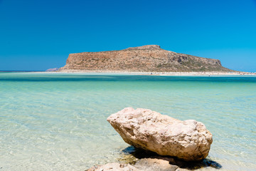 Tourist paradise with turquoise crystal clear waters of Balos, Crete island, Greece