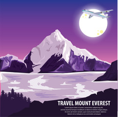 illustration vector. Travel mountains Everest by plane . Travel around highest mountains Everest and beautiful landscape