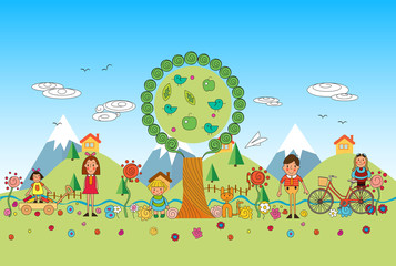 Children summer vacation in park. Vector set of summer child's outdoor activities. Kids playing outside.