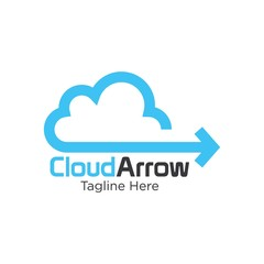 A minimalistic icon (logo) representing stylized cloud and an arrow . Could be used as a logo, as an icon or a separate visual depicting the cloud computing idea or illustrating cloud related idea.