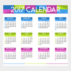 Colorful calendar for the new year - 2017