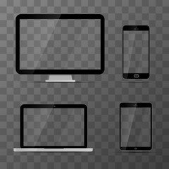 Mockups of monitor, laptop, black tablet and smartphone