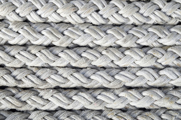 Old white ropes closeup