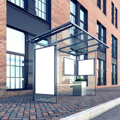 Mock up of poster on the bus stop, factory building, stock image, perspective, 3d rendering
