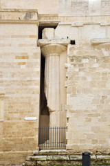 Ancient column in the medieval wall
