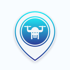 Drone icon on map pointer, aerial footage, copter with camera